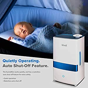 LEVOIT Cool Mist Humidifier for Bedroom, 4.5L Ultrasonic Air Vaporizer Humidifier for Babies, Large Room and Nursery, Essential Oils, Whisper-Quiet, Auto Shutoff, Lasts up to 40 Hours, 2-Year Warranty