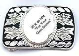 40x30 40mm x 30mm Cabochon Cab Southwest Silverplated Belt Buckle Mounting CF760