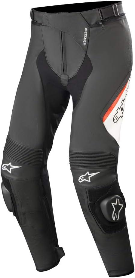 Alpinestars Missile v2 - Pantalones de cuero para hombre, color negro, blanco y rojo, talla 58