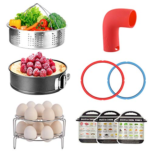 Pressure Cooker Accessories for 6QT Instant Pot with Steamer Basket, Springform Pan, Two Egg Racks, Two 6QT Sealing Rings, Release Valve, 45 Kinds Food Magnetic Cheat Sheets (10PCS)