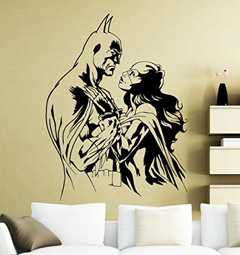 Batman and Catwoman Wall Decal Superhero Sticker Dark Knight Comics Art Home Decoration Any Room Waterproof Sticker (42su)