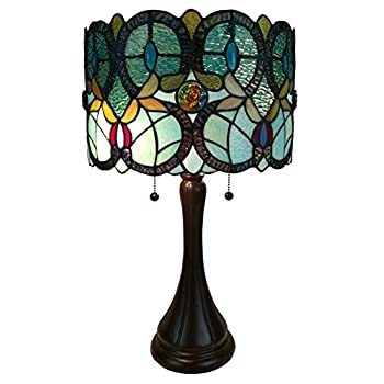 Image of Amora Lighting Tiffany Style Table Lamp Banker Floral 21' Tall Stained Glass White Green Red Yellow Blue Vintage Antique Light Décor Nightstand Living Room Bedroom Handmade Gift AM286TL12 Home Improvements