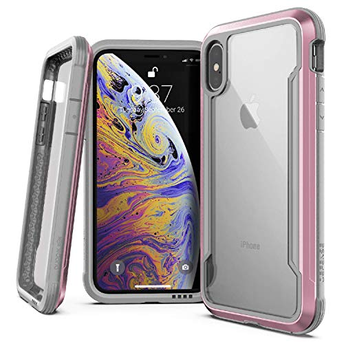 - iPhone X, X-Doria Defense Shield Series - Military Grade Drop Tested, Anodized Aluminum, TPU, and Polycarbonate Protective Case for Apple iPhone X, [Rose Gold]
