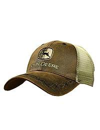John Deere Oilskin Mesh Back Embroidered Hat, Brown