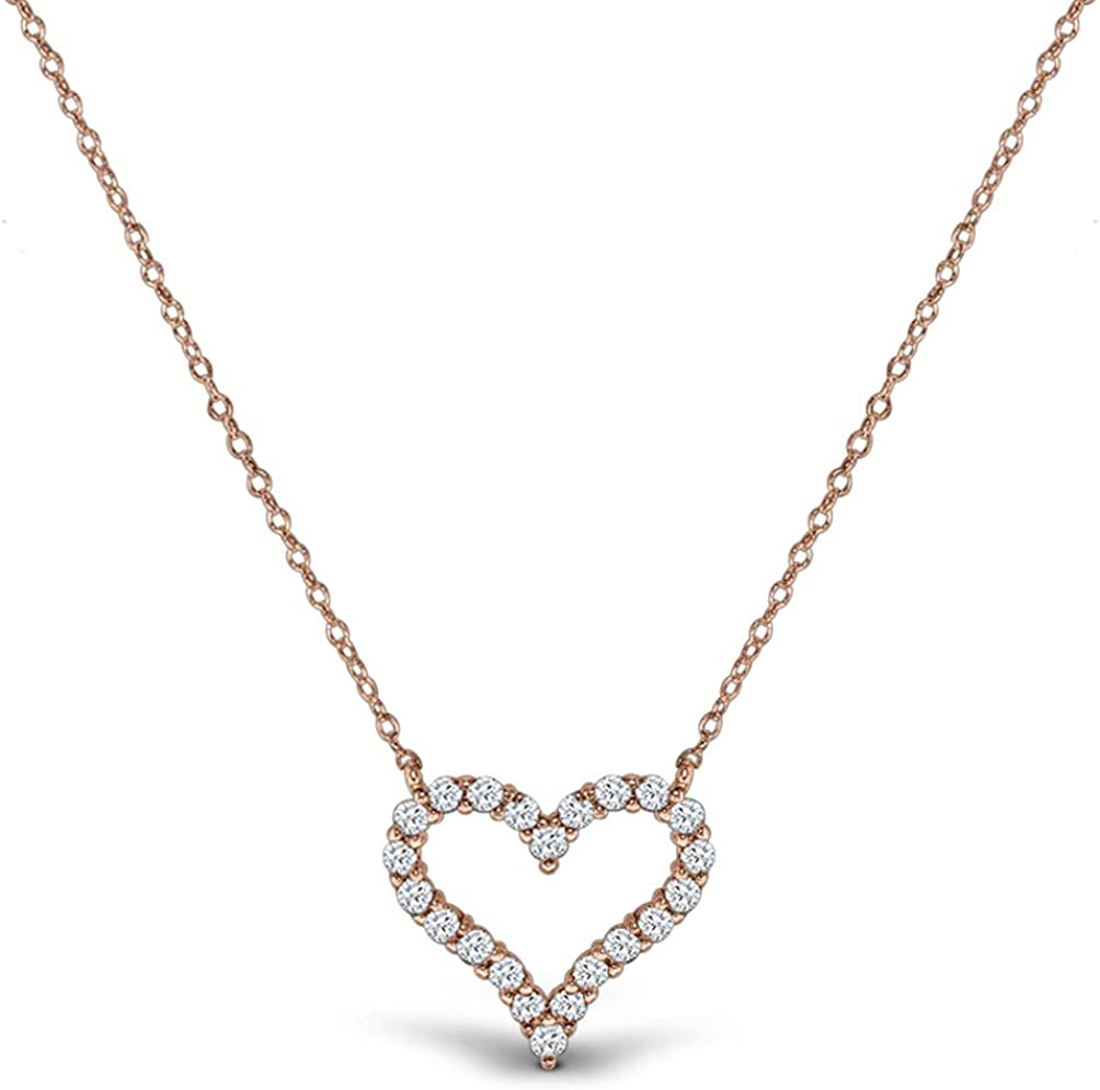 Amazon.com: AceLay 14k Gold Plated Sterling Silver Heart Necklaces for Women  Filled with CZ Stones | Women's Jewelry Love Pendant Necklace (Rose Gold):  Jewelry
