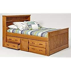 Full Bookcase Captain Bed with Under Bed Storage