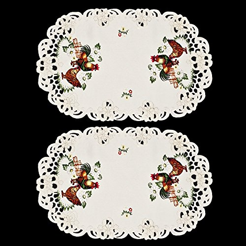 "Linens, Art and Things Embroidered Rooster and Chicken Place Mats 11"" x 17"" Set of 2"