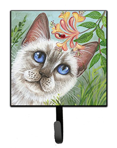 Caroline's Treasures White Cat Saphire Eyes Leash or Key Holder JYJ0173SH4 Small Multicolor