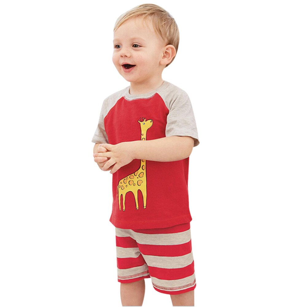 Toddler Baby Boy Girl T-Shirts Set, Cartoon Animal T-Rex Printed Tops Short Sleeve Patchwork Tees+Stripe Short Pant 18M-5T (Red, 5T (4-5 Years))
