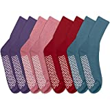 Personal Touch Ladies Crew Length Hospital Slipper Socks Size 9-11 Pack of 4 Multi Color (1 Purple, 1 Pink, 1 Red 1 Light Blue)