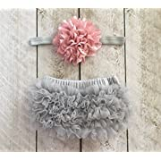 Ruffle Bloomer & Lace Flower Infant Headband Set, Newborn Baby Girl, Mauve Pink & Silver Gray