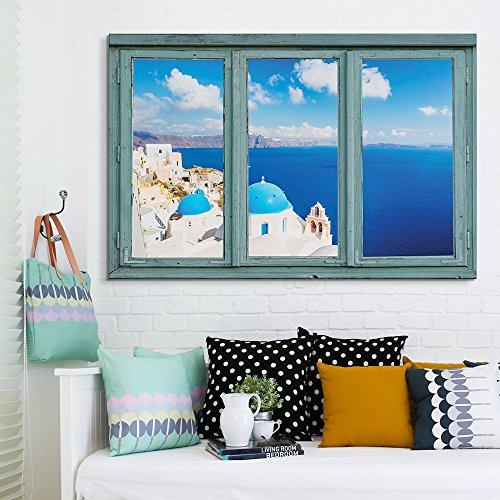 3 Frame Window Overlooking a Beautiful City by The Ocean