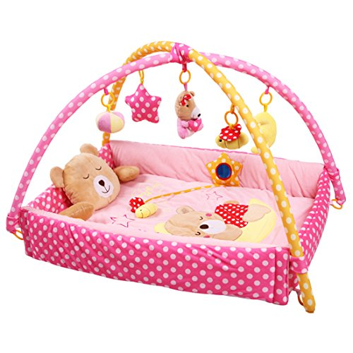Missley Baby Gym Wave Bear Fitness Center Multi-function Learning Activity Toys Crawling Mat (pink)