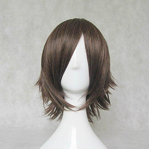 [Hakuouki Portable Okita Souji Brown Short Cosplay Costume Wig + Free Wig Cap] (Okita Souji Cosplay Costume)