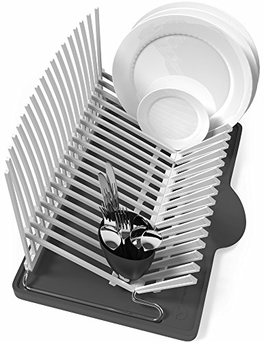 Vremi Dish Drying Rack - Collapsible Dish Rack and Drainboard Set - Foldable Space Saving Dish Drainer Rack Plastic with Tray for Kitchen Sink - Compact Modern Fold Away Dish Dryer Rack - Black Gray