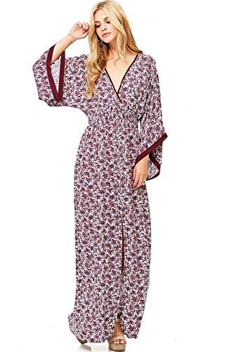 LOVE STITCH Women's 3/4 Sleeve Floral Print Maxi Dress (M/L, Plum)