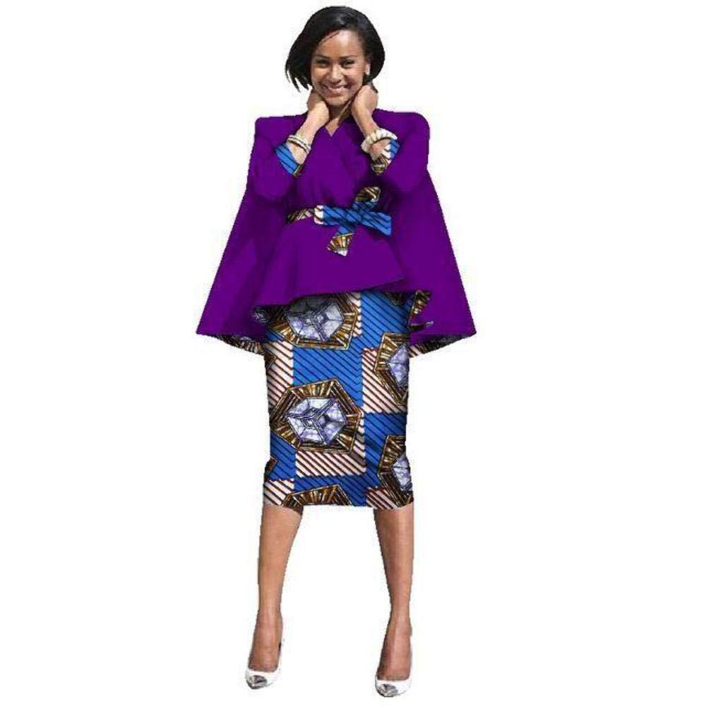 African Kitrnge Dashiki Maxi Knee-Length Top-Skirt Set for Women X151286
