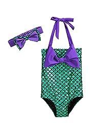 Pettigirl Girls' Lovely Swimming Wear Princess Halter Swimsuit Bowknot 1-11 years