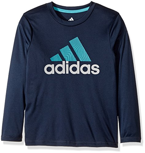 adidas Big Boys' Basic Long Sleeve Tee Shirt, Collegiate Navy, L (Adidas Long Sleeve Shirt)