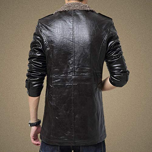 Cotone Finto Abbigliamento Uomini Materiale Giacca Pelle Epoca Dimagriscono Lunga Di Schwarz Manica Cappotto Forma Pu Huixin Pieno Bavero xAIwOqP