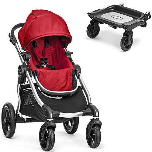 Baby Jogger City Select Silver Frame Stroller W Glider Board Ruby