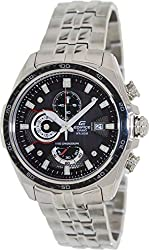 Casio Men's Edifice EF565D-1AV Silver Stainless-Steel Quartz Watch with Black Dial