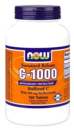 MAINTENANT les aliments C-1000 tamponnée C avec 250mg bioflavonoïdes subies libérer 180 comprimés