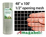 48 x 100 1/2 inch Openings Square Mesh Welded Wire 19 Gauge Hot-dipped Galvanized Hardware Cloth Gutter Guards Plant Supports Chicken Run Rabbit Fence Cage Wire Window Poultry Enclosure Doors