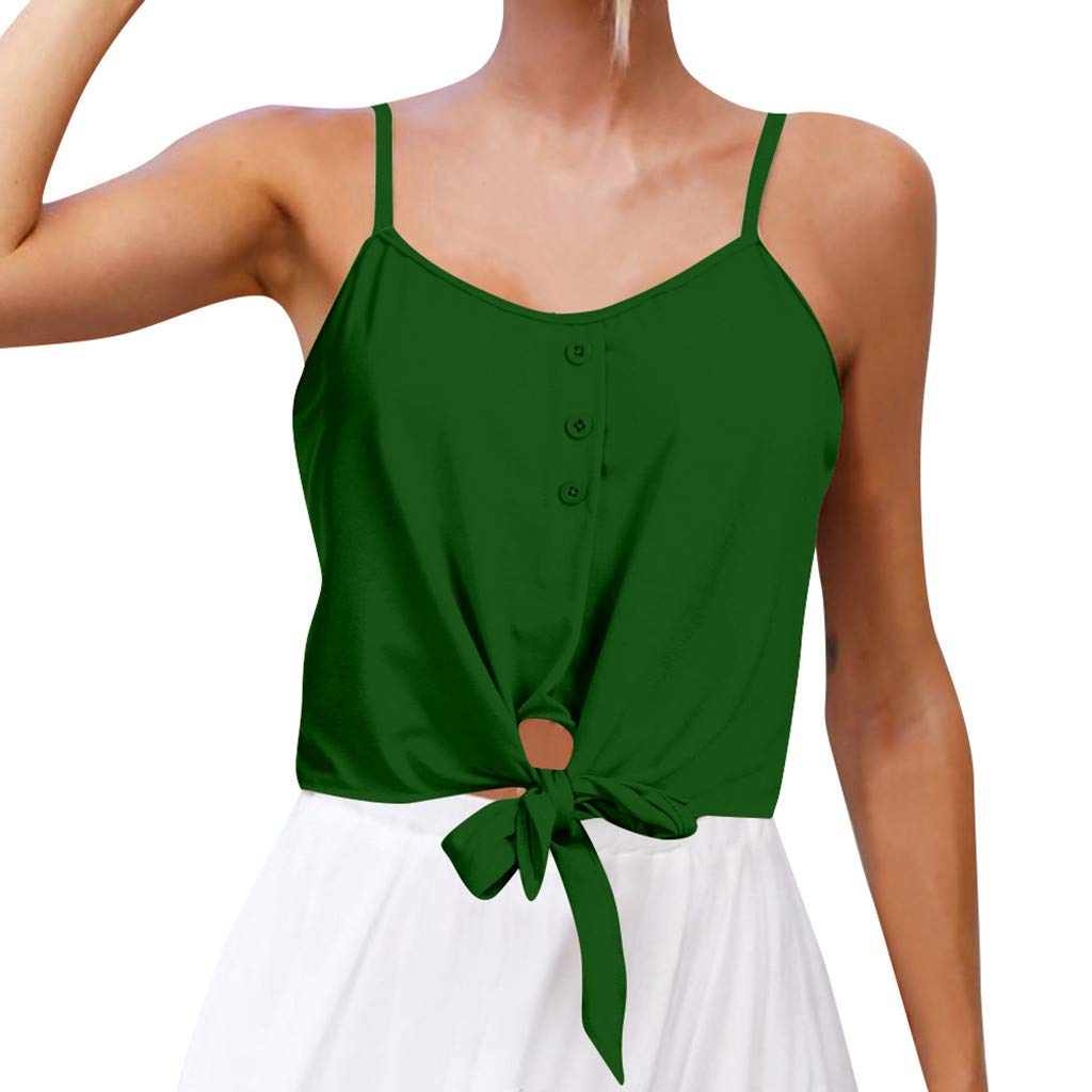 NUWFOR Women's Summer Casual Solid Sleeveless Design Buttons Shirt Tank Top Blouse(Green,US S Bust:29.86'')