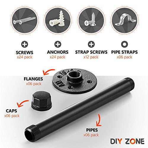 Pipe Bracket (6 pcs Black Steel) - Industrial DIY Pipe Shelf Bracket for Wood Floating Shelf Vintage Look - Rustic Pipe Decor Wall Mount with All Accessories Needed (Shelf Not Included) (6) by DIY ZONE (Image #1)