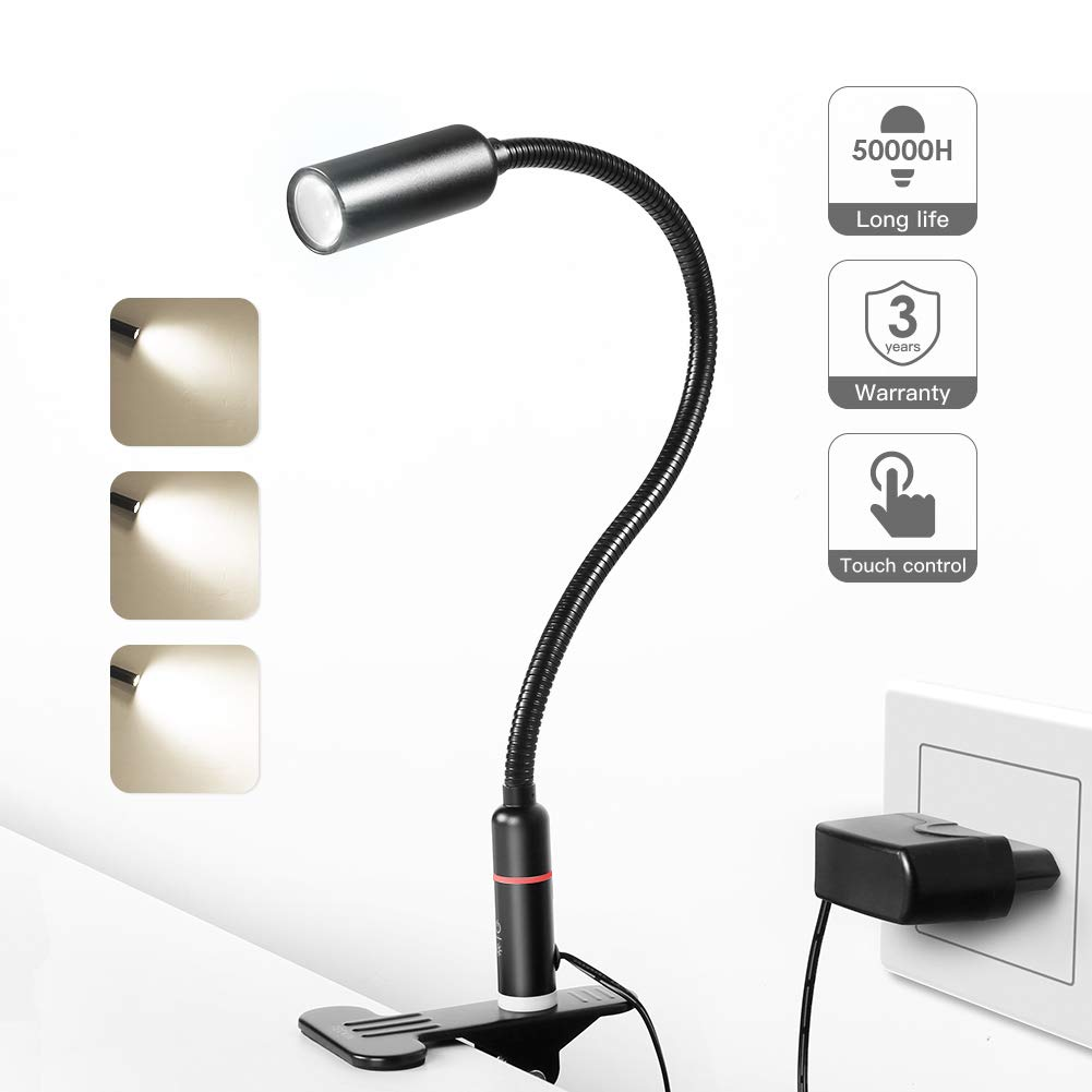 TECKIN Clip on Lamp/LED Reading Light/Desk Lamp /3 Brightness Modes/360 ° Flexible Neck,Touch Control Eye-Care Night Light Perfect for Desk,Computer and Bed Headboard (AC Adapter Included)