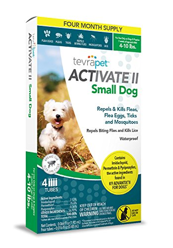 TevraPet Activate II Flea and Tick Topical for Small Dogs 4-10 lbs, 4 Dose Flea and Tick Prevention. Waterproof Flea and Tick Drops for 4 Months of Flea and Tick Control