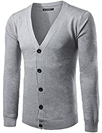 Mada Men's Slim Cardigan Classic Knitted Sweater Button Down V neck Light Gray