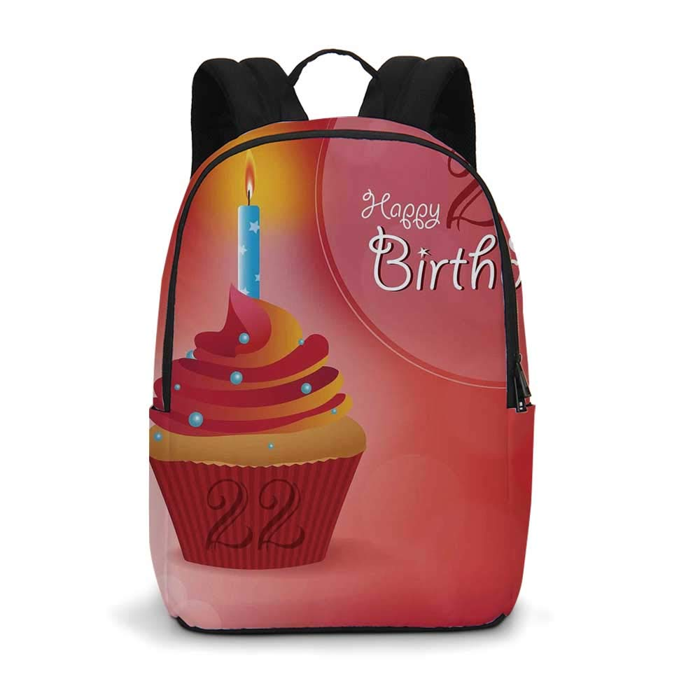 22nd Birthday Decorations Modern simple Backpack,Cute Cupcake with Candles Romantic Celebration Illustration for school,11.8''L x 5.5''W x 18.1''H