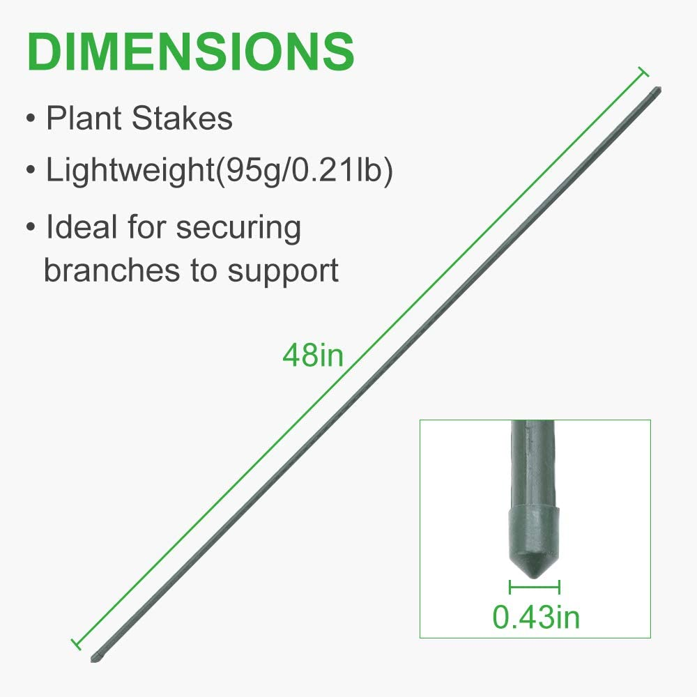Fences Tomato Stakes Plant Sticks for Tomato Plants Beans GROWNEER 25 Packs 48 Inches Steel Garden Stakes Plant Stake Plant Cage Supports with 100 Pcs Twist Ties Cucumber Sapling