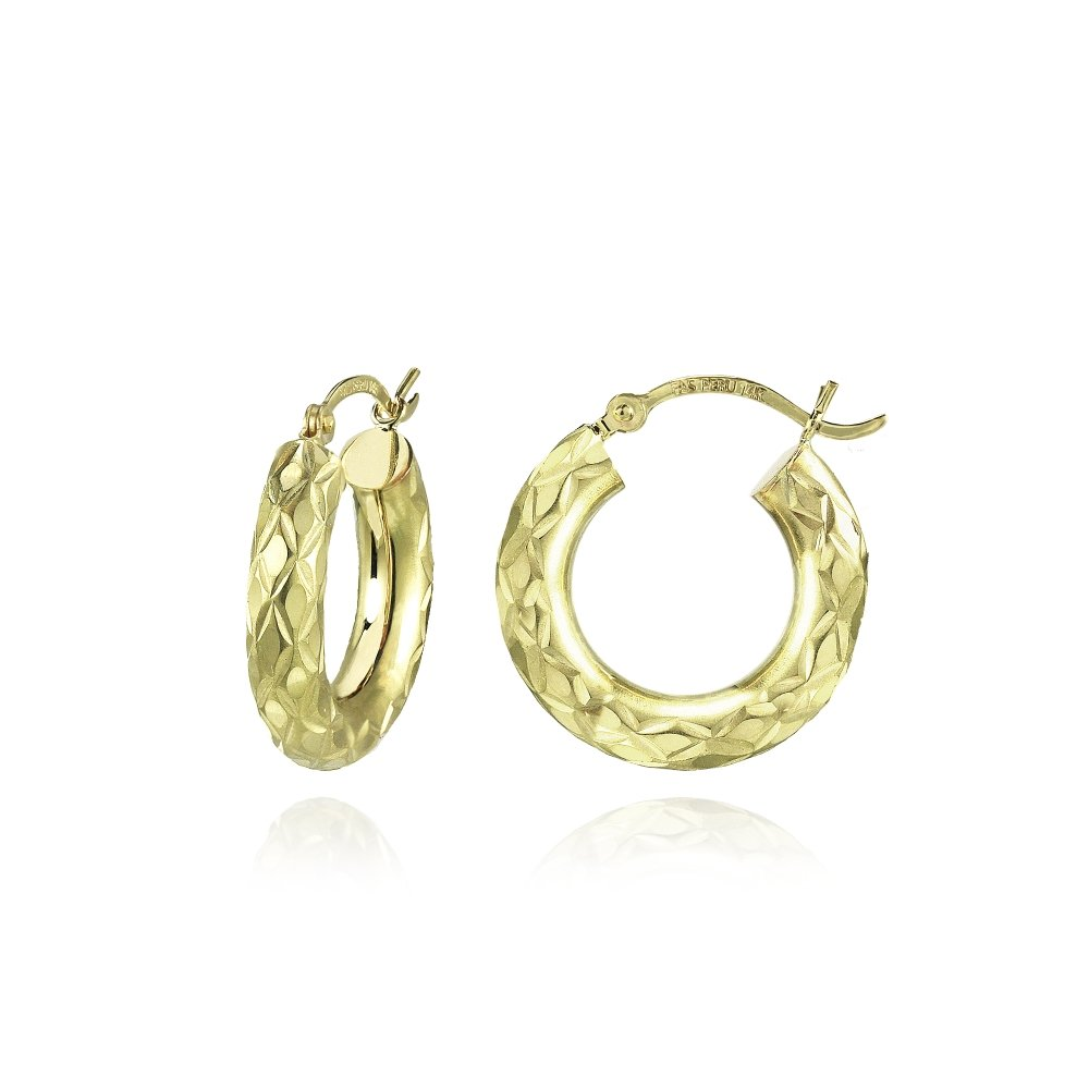 14K Gold Diamond-Cut 4mm Lightweight Small Round Hoop Earrings, 19mm