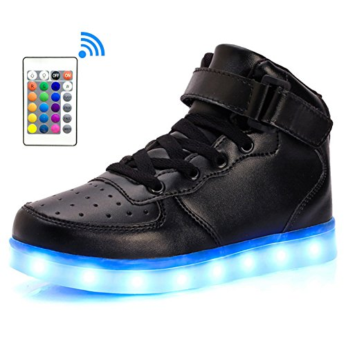 LakeRom Boys Shoes Boots USB Charging Litht up Led Shoes for Kids Girls Sneakers LRGB889-Black/RC-37
