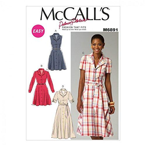 McCalls Ladies Sewing Pattern 6891 Shirt Style Dresses & Sash