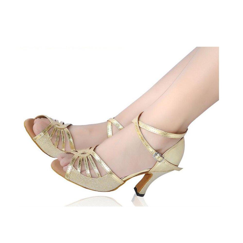 XUE Frauen Latin Schuhe Satin Sandale/Sneaker/Ferse Practice Practice Sandale/Sneaker/Ferse Schnalle/Band Tie/Hollow-Out FlaROT Ferse Dance Schuhe Schwarz Party & Abend (Farbe : Ein, Größe : 40) Ein 78188b