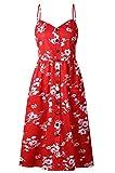 ST-MAX Women's Dresses Plus Sizes Boho Straps Casual Button Beach Floral Dress Pockets (red Floral, XX-Large)