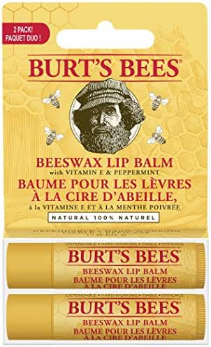 Burt's Bees 100% Natural Moisturizing Lip Balm, Beeswax, 2 Tubes in Blister Box