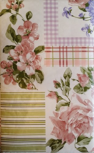 Pink Roses and Violets Floral Patchwork Vinyl Flannel Back Tablecloth (60 Round) by Elrene