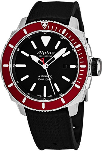 Alpina Seastrong Diver Black Dial Silicone Strap Men's Watch ()