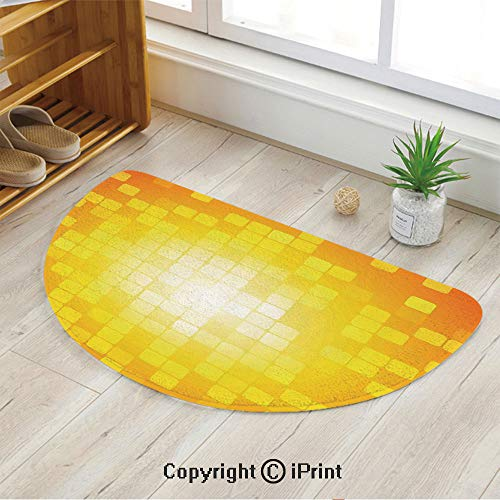 LEFEDZYLJHGO Customized Half Moon Rug for Bathroom Half Circle Rug,Mosaic Retro Square Shapes and Patterns Pixels Rays Chic Contemporary Graphic Design,47