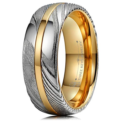 THREE KEYS JEWELRY 8mm Damascus Steel Mens Wedding Ring Domed Wood Grain Plated Gold Liner & Inlay Damascus Wedding Band Engagement Ring Size 9