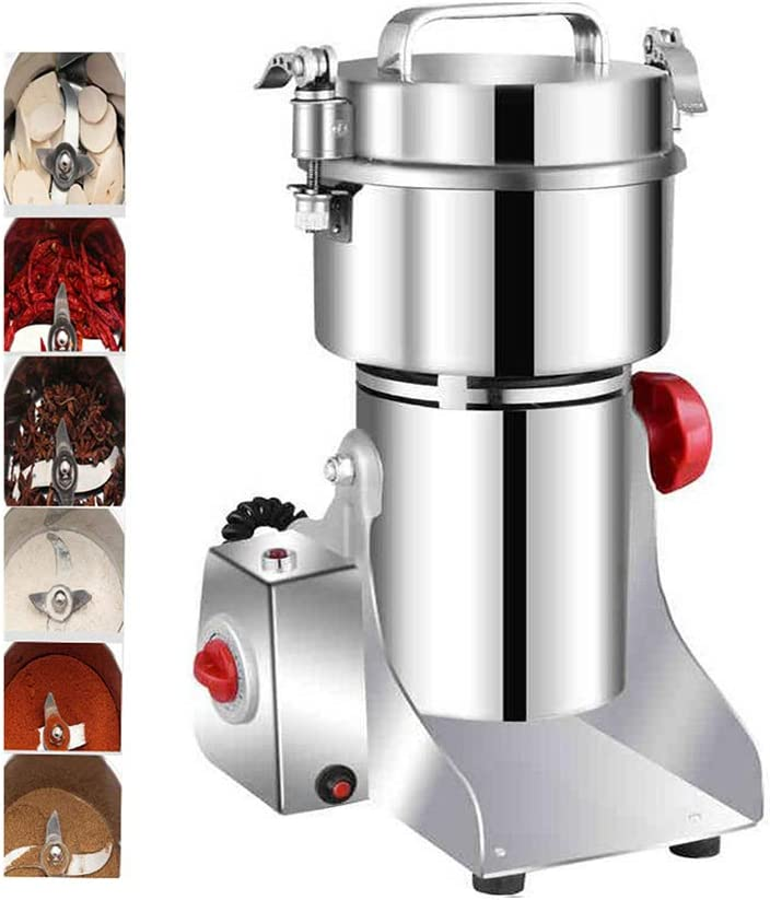 Stainless Steel 3000W High Speed Pulverizer for Coffee Spice Grind 800g Electric Grain Dry Grinder Commercial Swing Type Dry Mill Machine