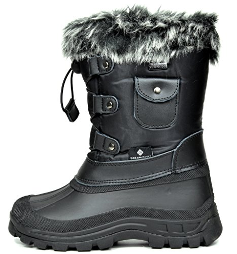 DREAM PAIRS Little Kid Ksnow Black Isulated Waterproof Snow Boots - 1 M US Little Kid