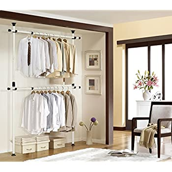 One Touch Double Adjustable Hanger | Prince Hanger | Holding 80kg(176LB)  Per Horizontal Bar | Heavy Duty | 38mm Vertical Pole | Clothing Rack |  Clothes ...