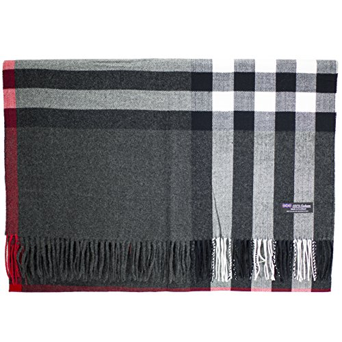 (2PLY 100% Cashmere Blanket Oversized Scarf OS Tartan Check Scotland Wool Plaid (Charcoal Gray Red White))
