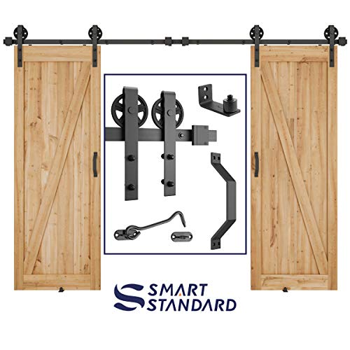 10ft Heavy Duty Double Gate Sliding Barn Door Hardware Kit, 10ft Double Rail, Black, (Whole Set Includes 2X Pull Handle Set & 2X Floor Guide & 1x Latch Lock) Fit 30